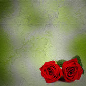 Grunge ancient used paper in scrapbooking style with roses — Stock Photo
