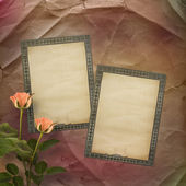 Ancient used paper with roses — Stock Photo