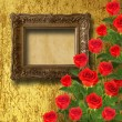 Frame with red roses — Stockfoto
