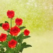 Stock Photo: Red roses on window with raindrop
