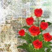 κόκκινα τριαντάφυλλα με πράσινα φύλλα — Φωτογραφία Αρχείου