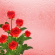 Stock Photo: Red roses over window with raindrops