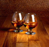 Two goblets of brandy — Stock Photo