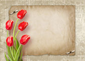 Bouquet of red tulips with green leaves — Stock Photo