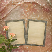 Grunge papers with roses — Stock Photo