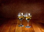 Wineglasses of white wine — Stock Photo