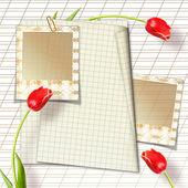 Boeket van mooie rode tulpen met dia 's — Stockfoto