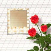 Bouquet of beautiful red roses with the invitation — Stockfoto