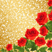 Red rose with green leaves on the gold abstract background — Stock Photo