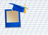 Mortar board or graduation cap with blue slide on the background — Stock Photo