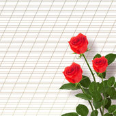 Beautiful red roses with the invitation — Foto Stock