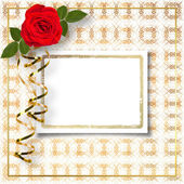 Beautiful red roses with the invitation — Fotografia Stock