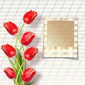 Bukett med vackra röda tulpaner med bilder på papper vit backg — Stockfoto