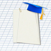 Mortar board or graduation cap with paper leaf  on the backgroun — Stock Photo