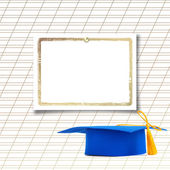 Mortar board or graduation cap with paper leaf  on the background — Stock Photo