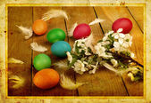 Grunge old carved postcard with eggs to celebrate Easter — Foto Stock