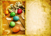 Grunge old carved postcard with eggs to celebrate Easter — Stock Photo
