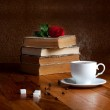 Hot cup of fresh coffee on the wooden table and stack of books — Stock Photo #45018133