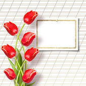 Bouquet of beautiful red tulips with greeting — Foto Stock