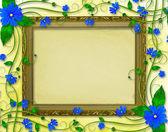 Holzrahmen im viktorianischen stil mit blauen blüten — Stockfoto