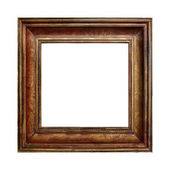 Picture gold wooden frame on the white isolated background — Stock Photo