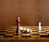 One chess king dominating another on the chessboard — Stok fotoğraf