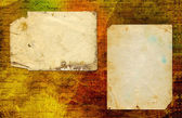 Grunge abstract paper background with old photo and handwrite te — Stock Photo