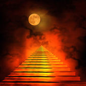 Staircase leading to heaven or hell. — Stock Photo