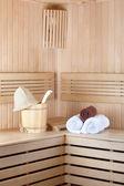Wooden sauna with bucket — Stock fotografie
