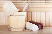 Wooden sauna  with bucket — Stock Photo
