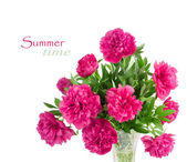 Beautiful bouquet of pink peonies — Stock Photo