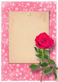 Grunge paper in scrapbooking style with rose — Zdjęcie stockowe