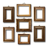 Gilded wooden frames for pictures on white isolated background  — 图库照片