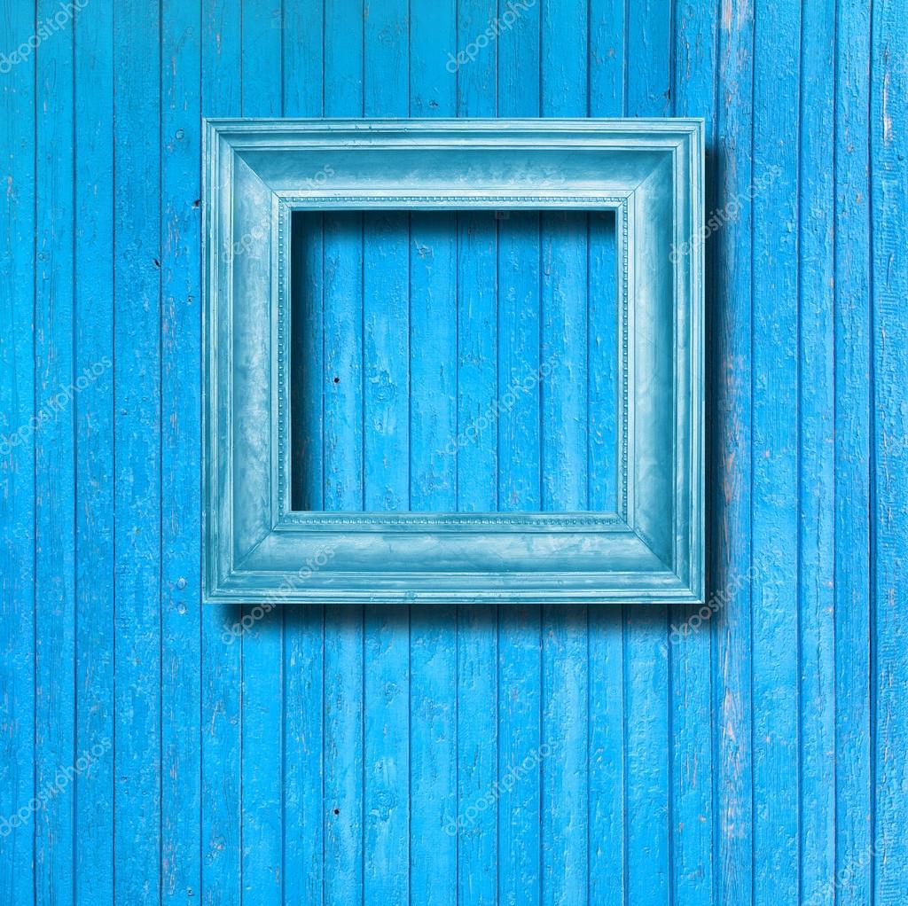 Vintage marco para cuadro en la pared de madera azul - Marcos de cuadros vintage ...