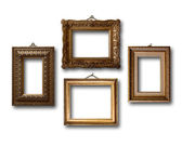Gilded wooden frames for pictures on white isolated background  — Stock Photo