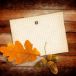 Old grunge paper with autumn oak leaves and acorns on the wooden — Stock Photo #49837921