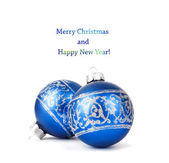 Blue Christmas balls with silver ornament isolated on white back — Stock Photo