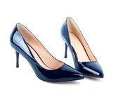 Beautiful blue classic women shoes isolated on white background — Stock Photo