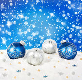 Blue and silver Christmas balls — Stock Photo