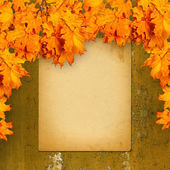 Old paper listing on rusty iron wall with bright orange autumn l — Stock Photo