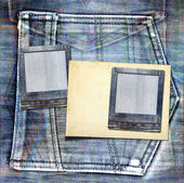 Vintage postcard with paper slides on old jeans background — Foto de Stock