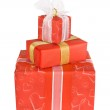 Holiday gift boxes decorated with bows and ribbons isolated on w — Stock Photo #8740047