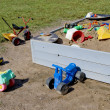 Toys in sandbox — Stock Photo
