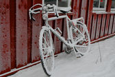 Bicycles in snow — Stock Photo