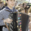 Girl with accordion — Stock Photo