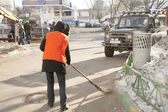 Russian street cleaner — Stock Photo