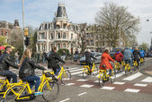 Amsterdam bicycle traffic — Stock Photo