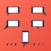 Gadget Vector smartphone empty speech bubbles red — Stock Vector