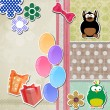 Royalty-Free Stock ベクターイメージ: Greeting scrapbook card.