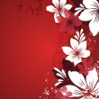 Red background with flowers — Imagen vectorial